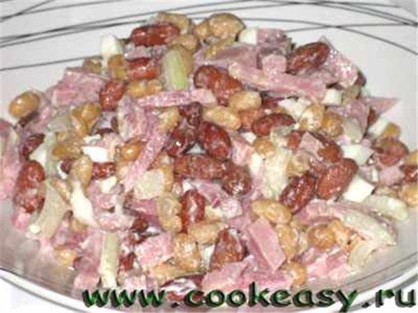 Салат из фасоли сыр ветчина